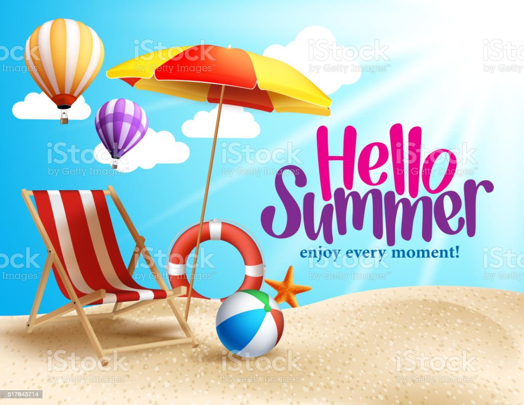 Summer Beach Vector Design in the Seashore with Beach Umbrella vector art illustration