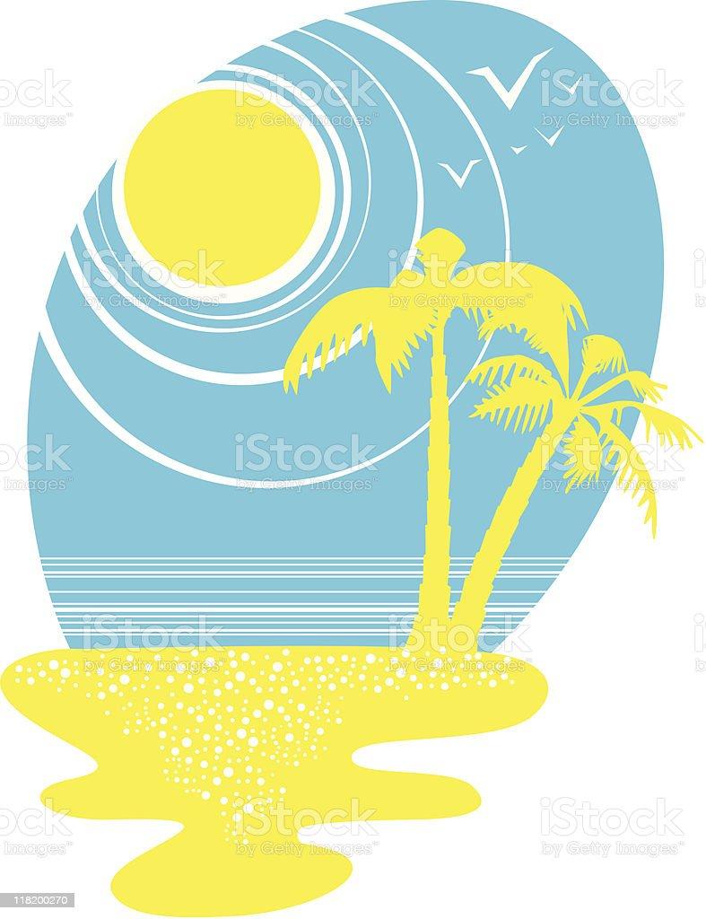 Summer beach vector art illustration