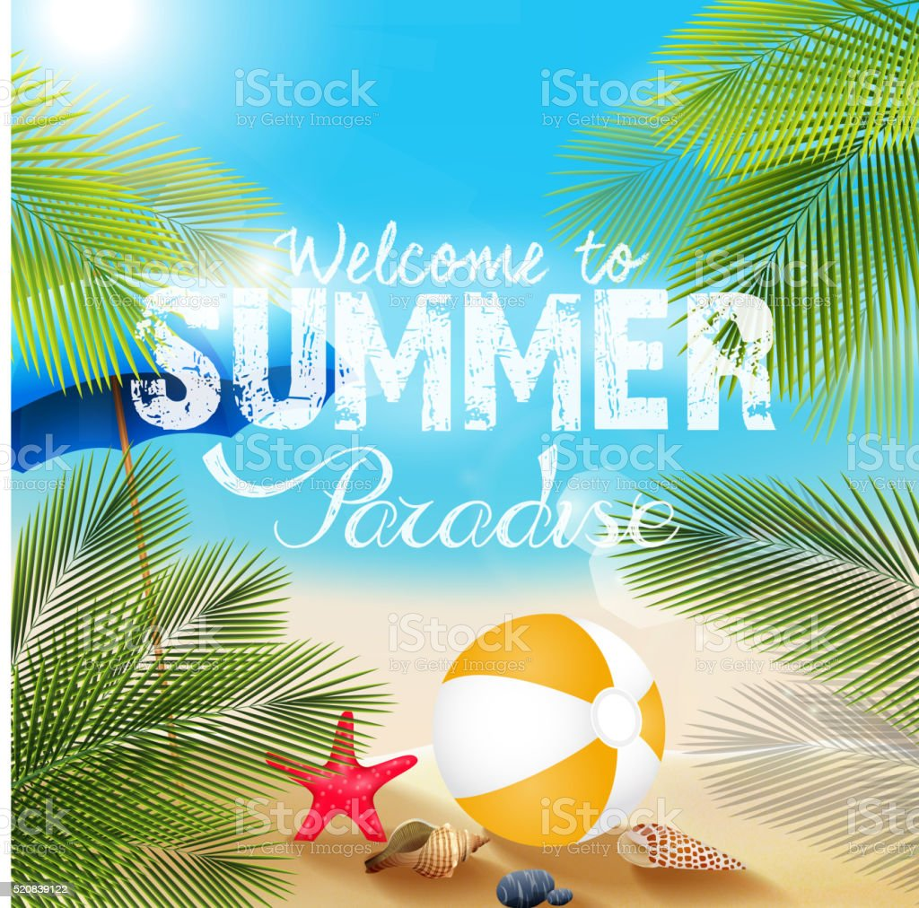 Summer beach with Beach volleyball and starfish vector art illustration