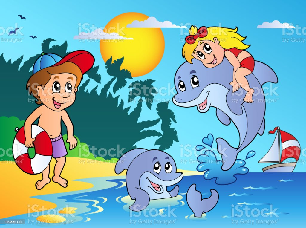 Summer beach with kids and dolphins royalty-free stock vector art