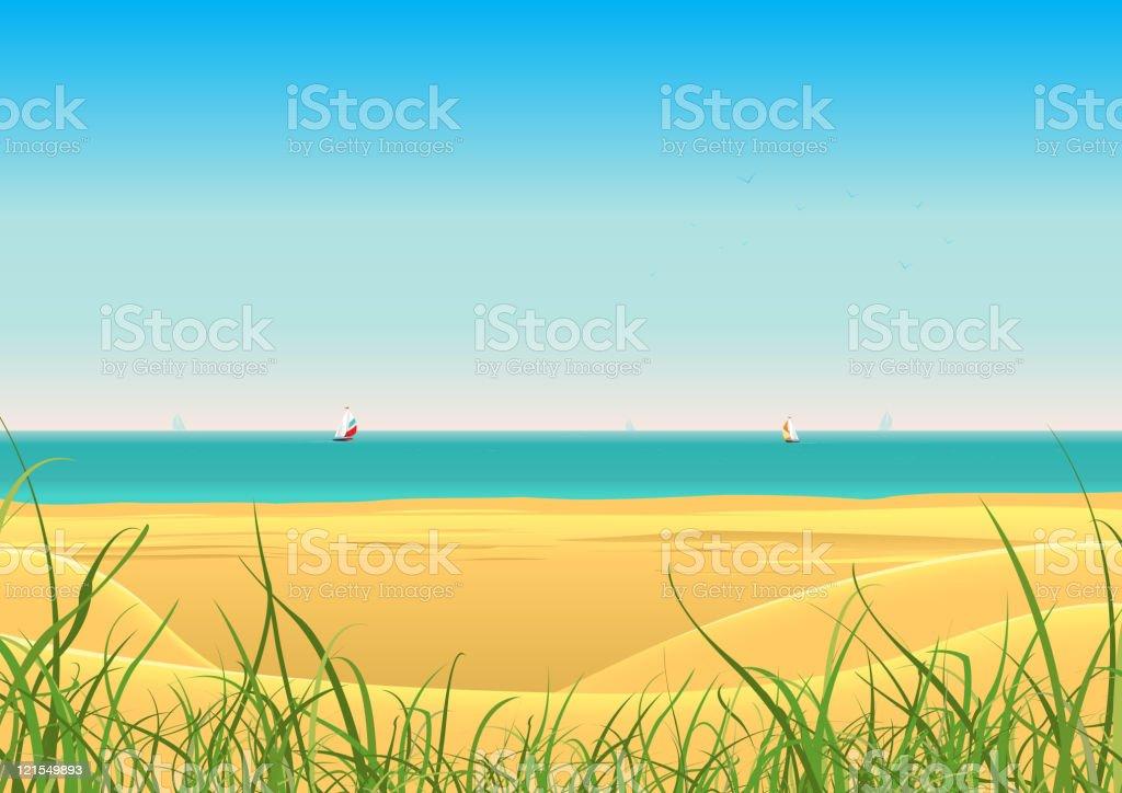 Summer Beach With Sailboat Postcard Background vector art illustration