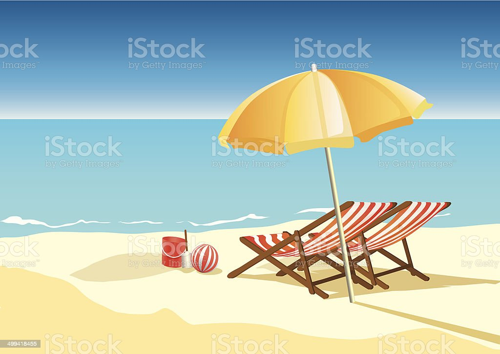 summer beach with umbrella and chairs vector art illustration