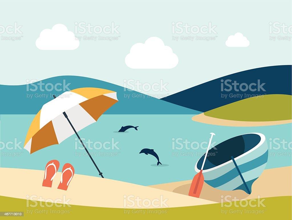 Summer beach with yellow umbrella. Flat design. vector art illustration