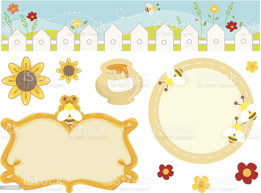 Summer bee design elements with border and frames royalty-free stock vector art