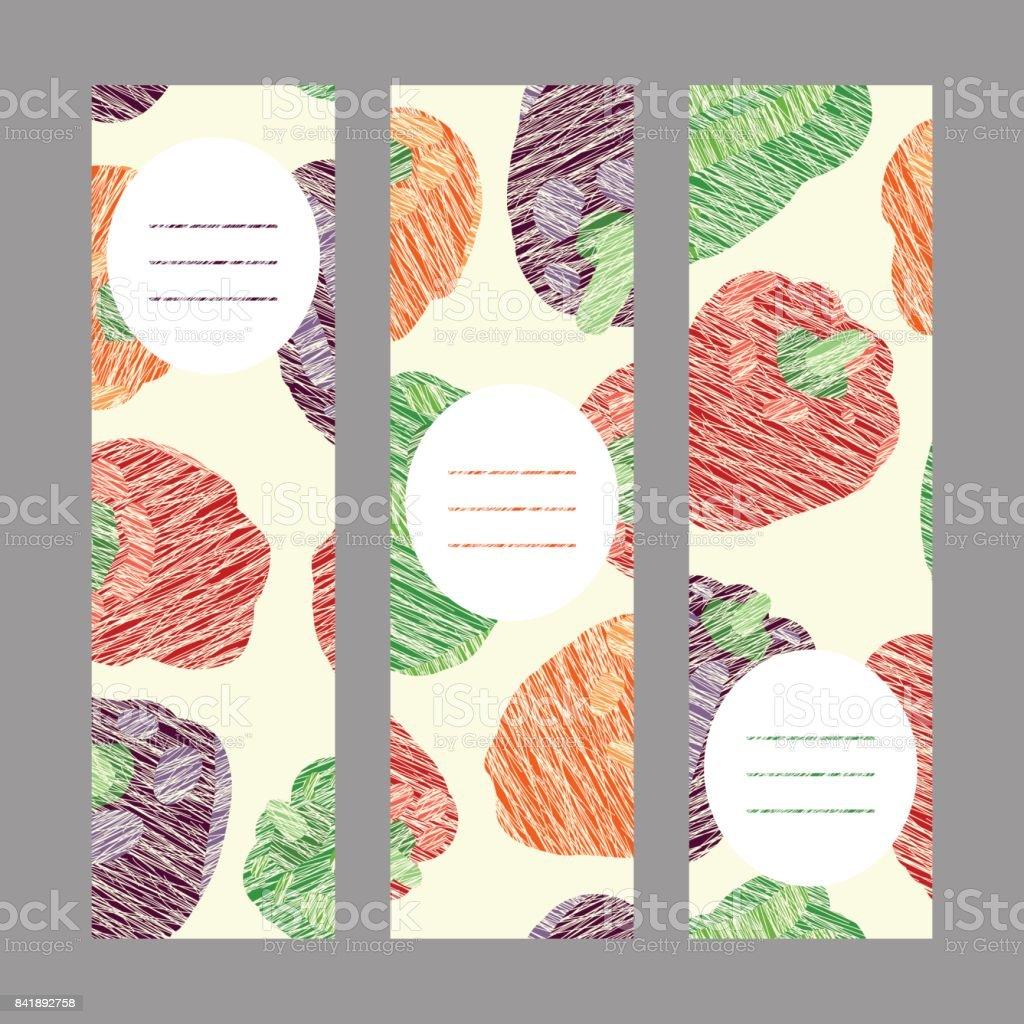 Summer bell peppers. Vegan banner series. Harvest. vector art illustration