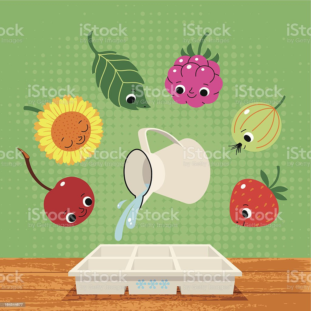 Summer Berry Fruits and Plants for Freezing. vector art illustration