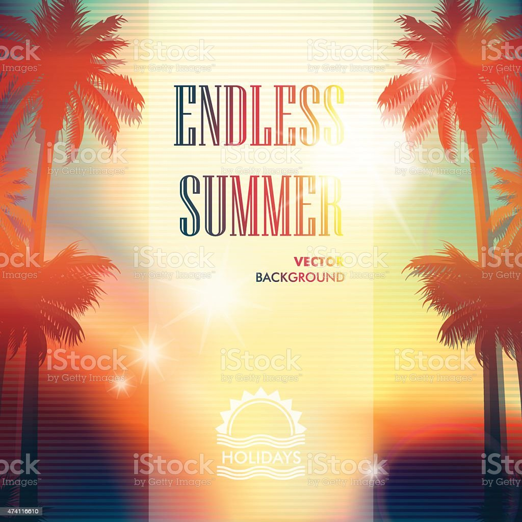 Summer blurred background with palm trees vector art illustration