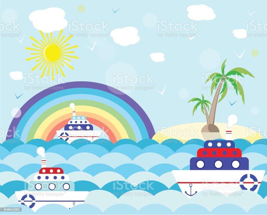 summer boat sea cartoon card vector illustration vector art illustration