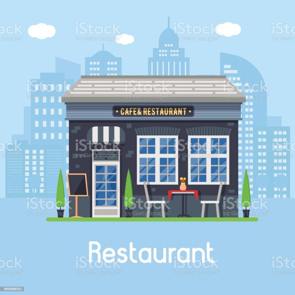 Summer Cafe Landscape vector art illustration