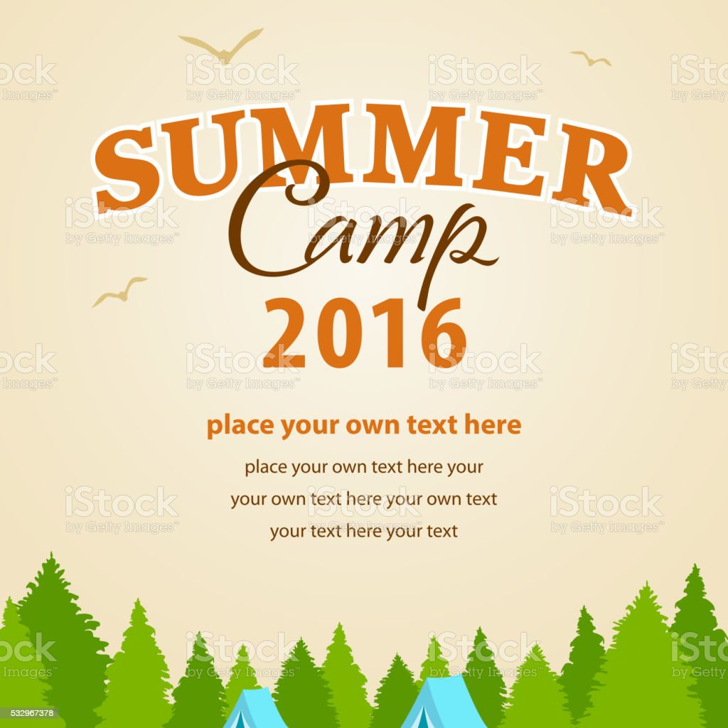 Summer Camp 2016 vector art illustration