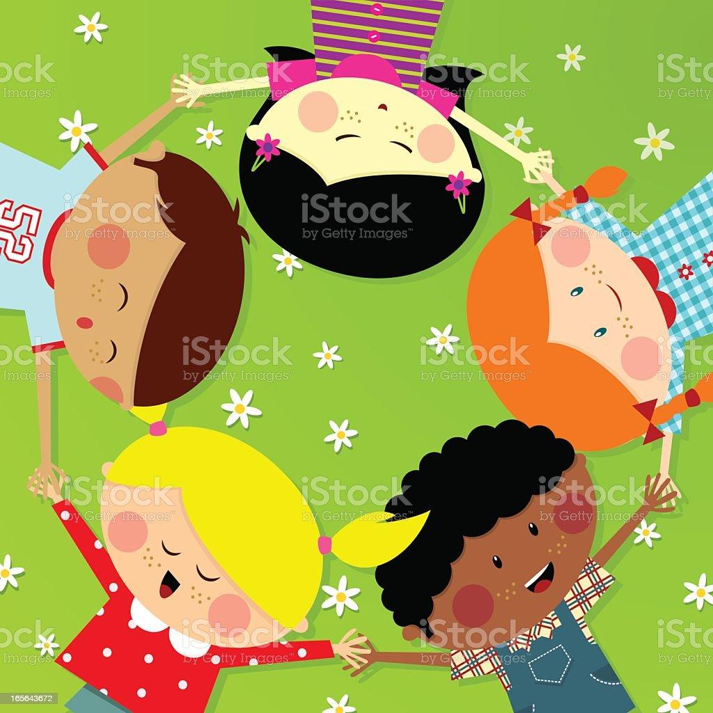 Summer camp Cute Multicultural kids. Happy illustration vector vector art illustration