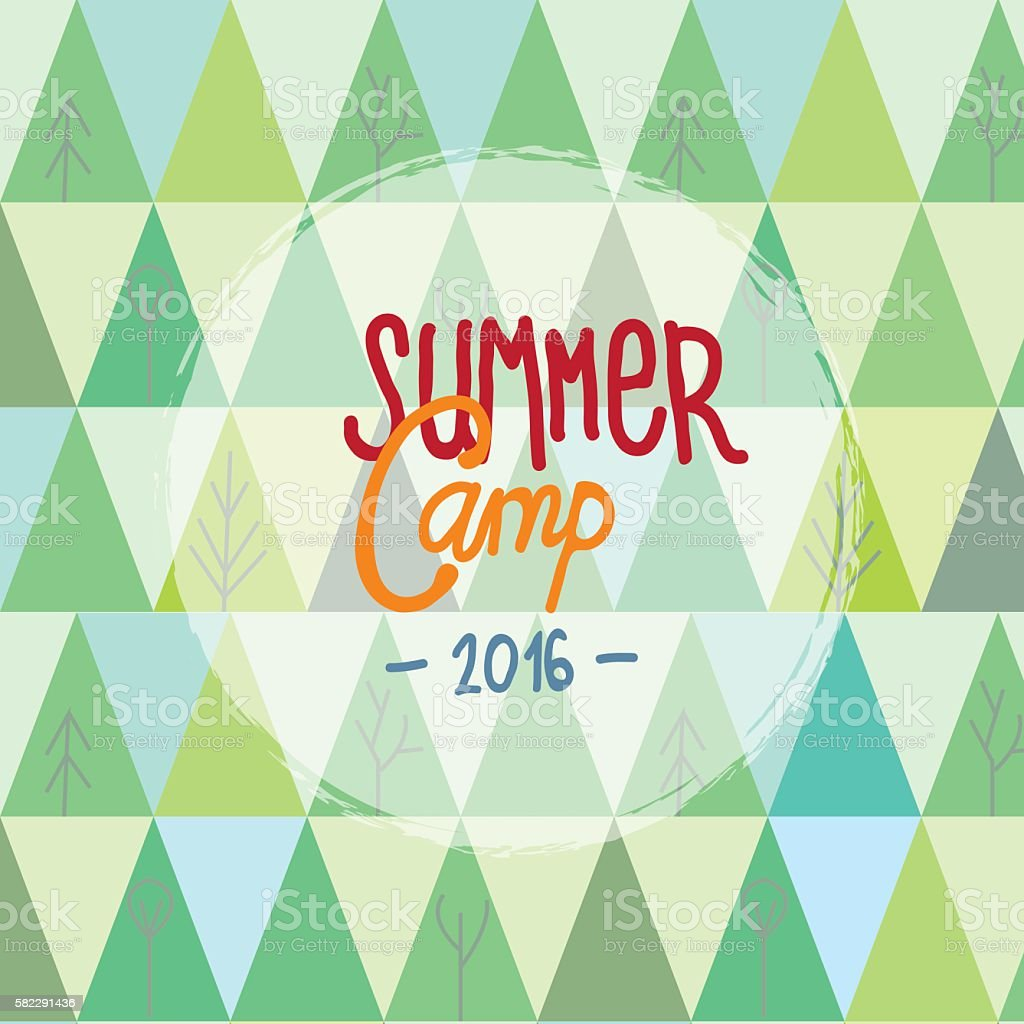Summer camp for kids background with trees and mountains vector art illustration