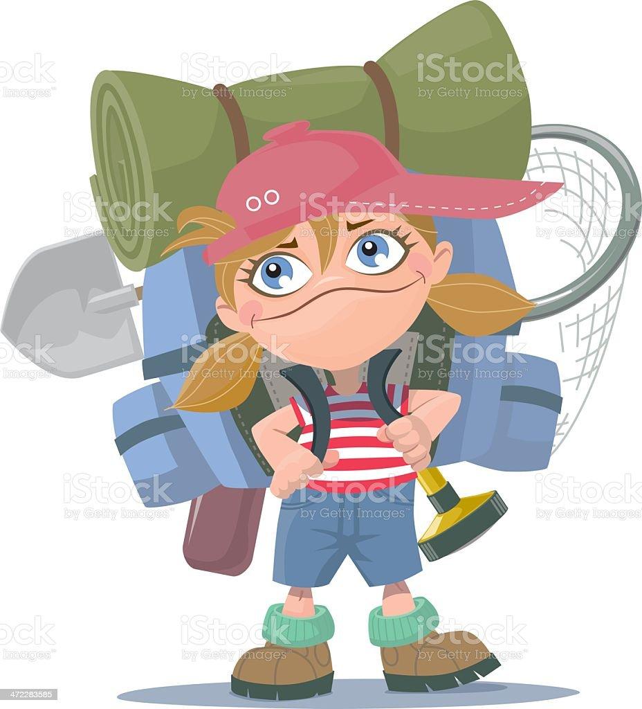 summer camp girl royalty-free stock vector art