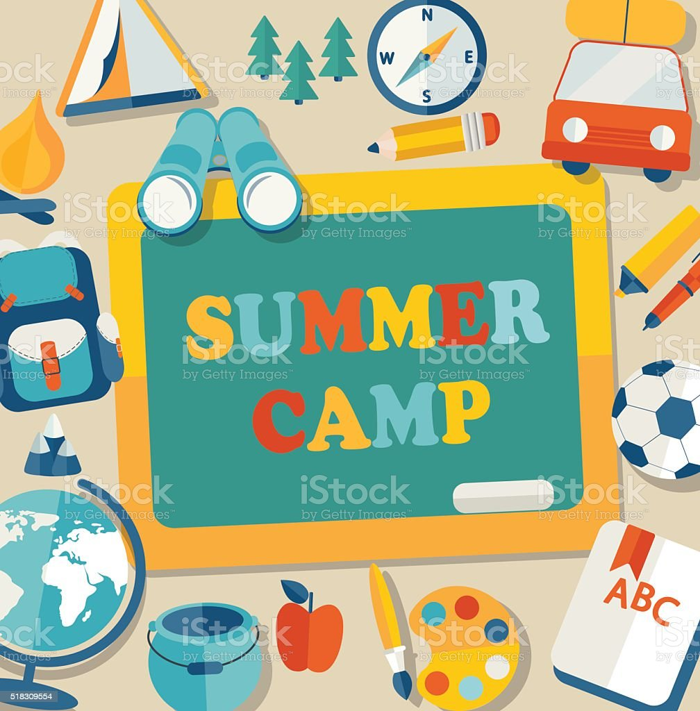 Summer camp illustration. vector art illustration