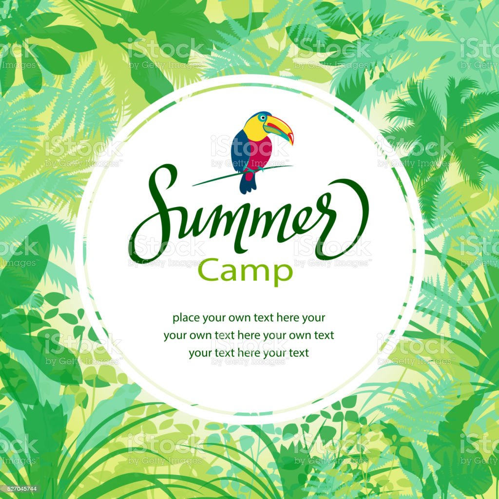 Summer Camp in Forest vector art illustration
