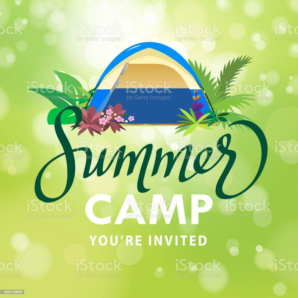 Summer Camp Invitation vector art illustration