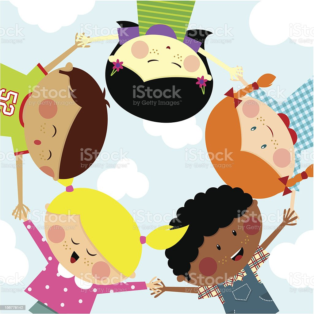 Summer camp- Multicultural kids. Happy royalty-free stock vector art