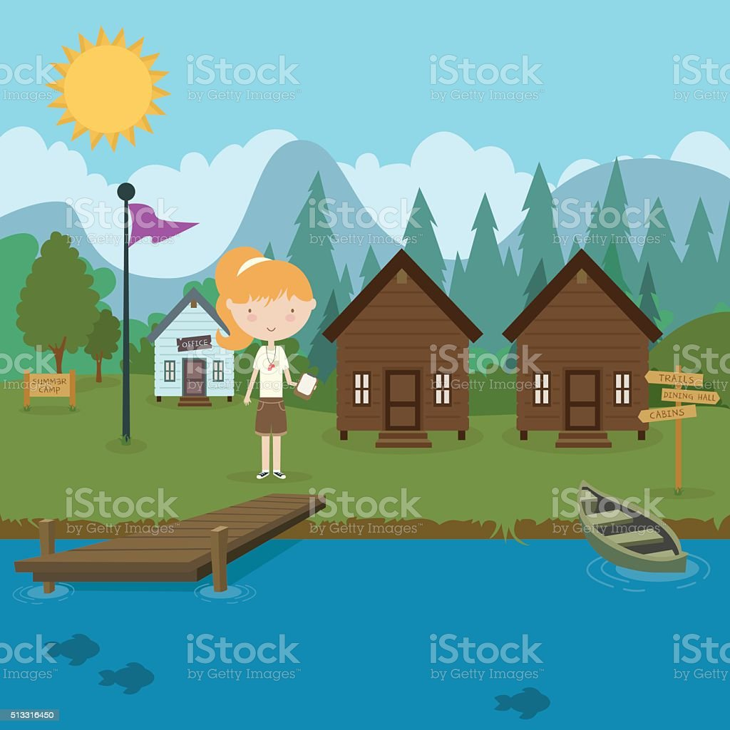 Summer Camp vector art illustration
