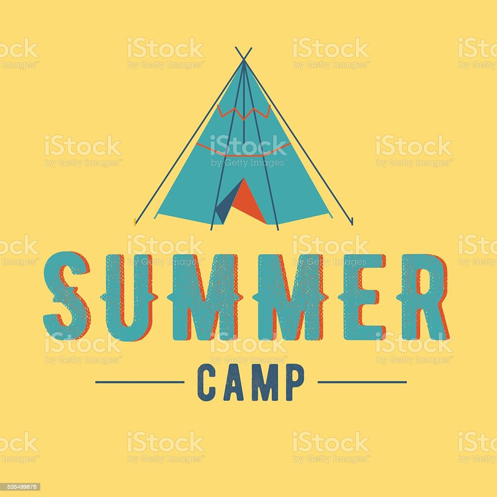 summer camp vector label summer camp vector art illustration