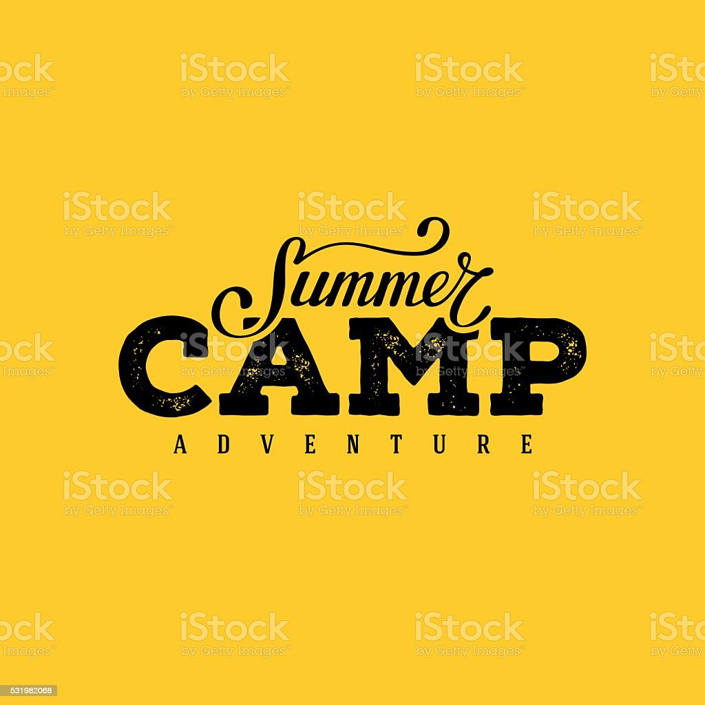 Summer camp yellow vector art illustration