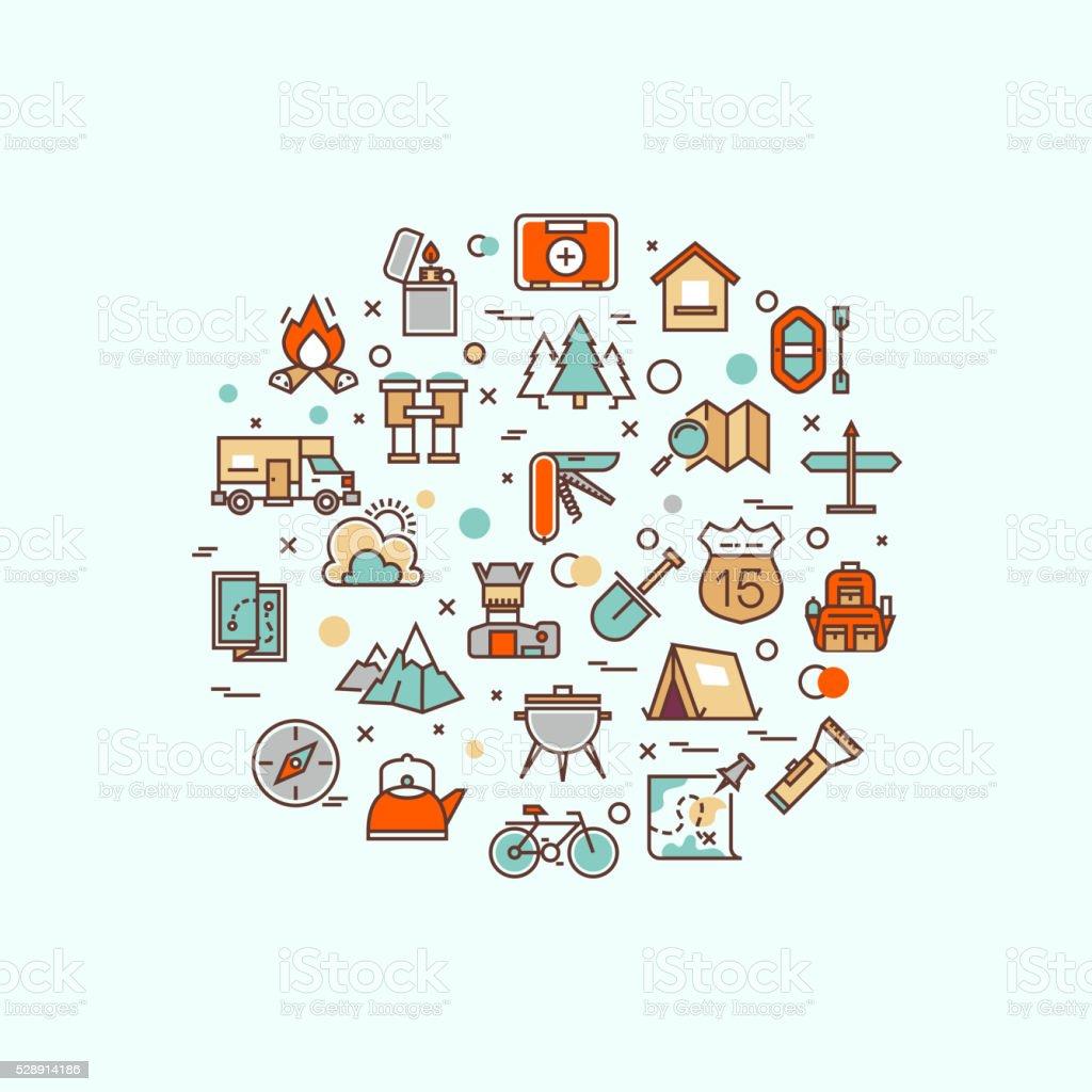 Summer camping, climbing, trekking, hiking, mountaineering, extreme sports, outdoor vector vector art illustration
