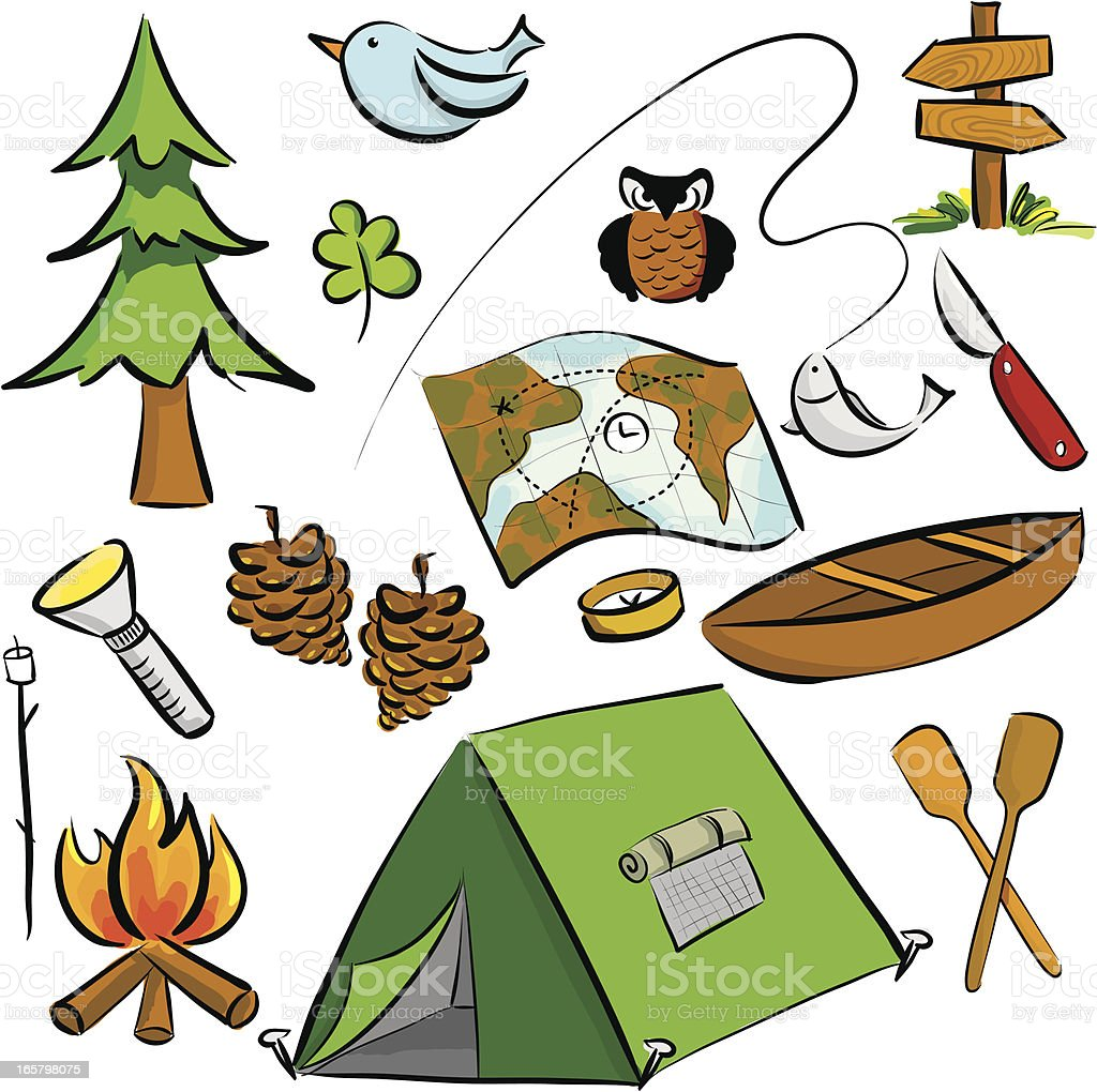 summer camping icon set royalty-free stock vector art