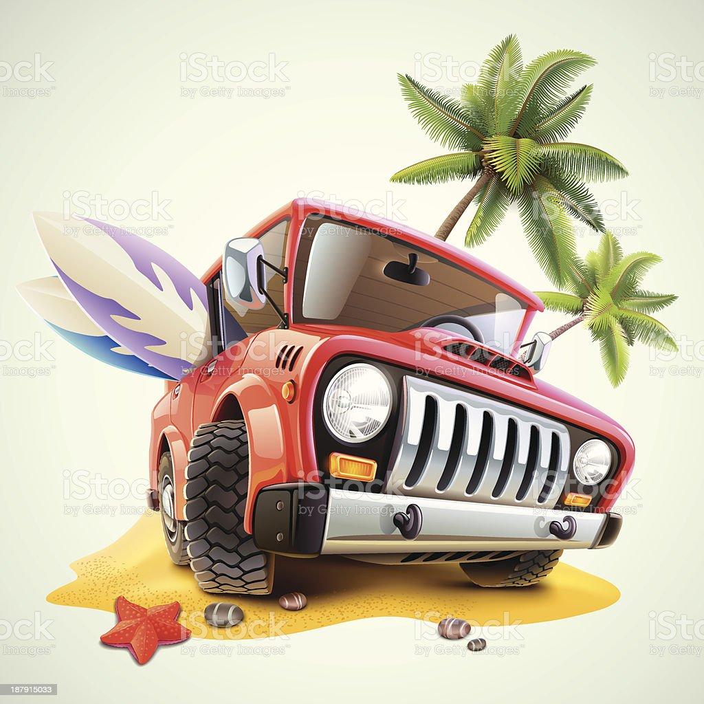 summer car on beach with palm vector art illustration