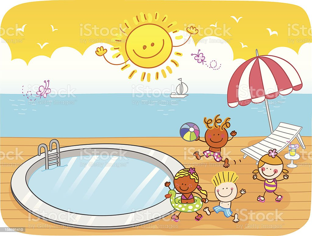 Schwimmbad comic kinder  Sommercomic Mit Kinder Am Swimmingpool Vektor Illustration ...