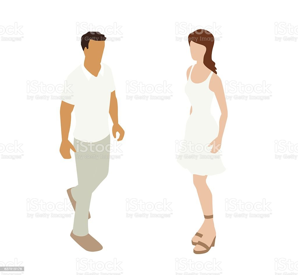 Summer Casual Couple Spot Illustration vector art illustration