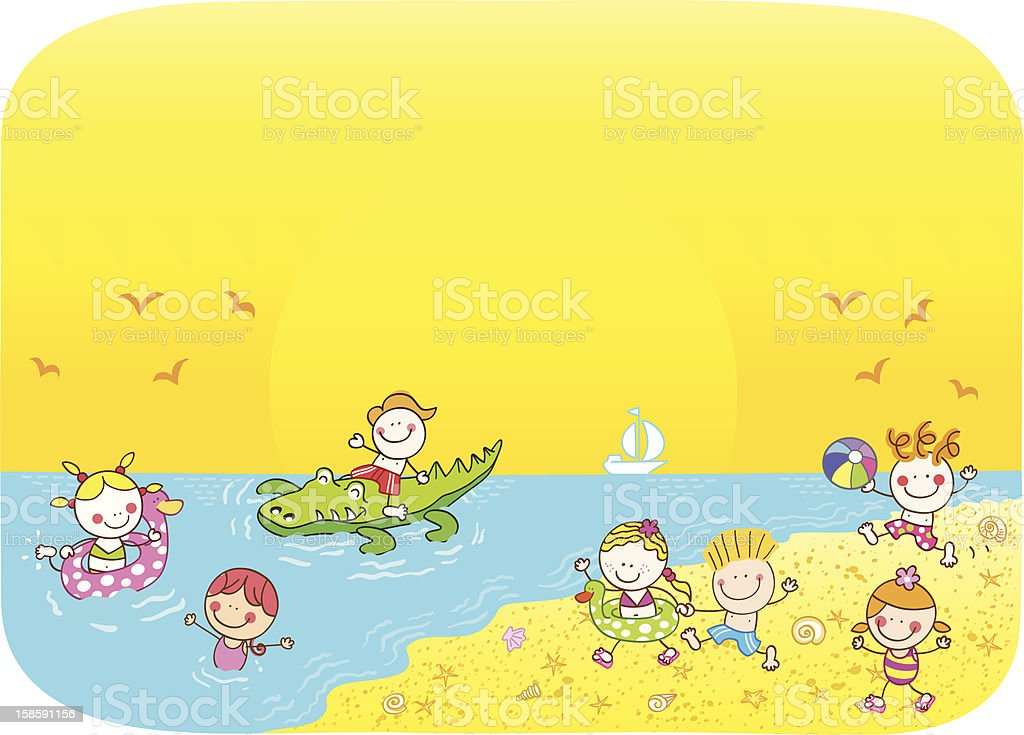 summer children playing at beach cartoon illustration royalty-free stock vector art