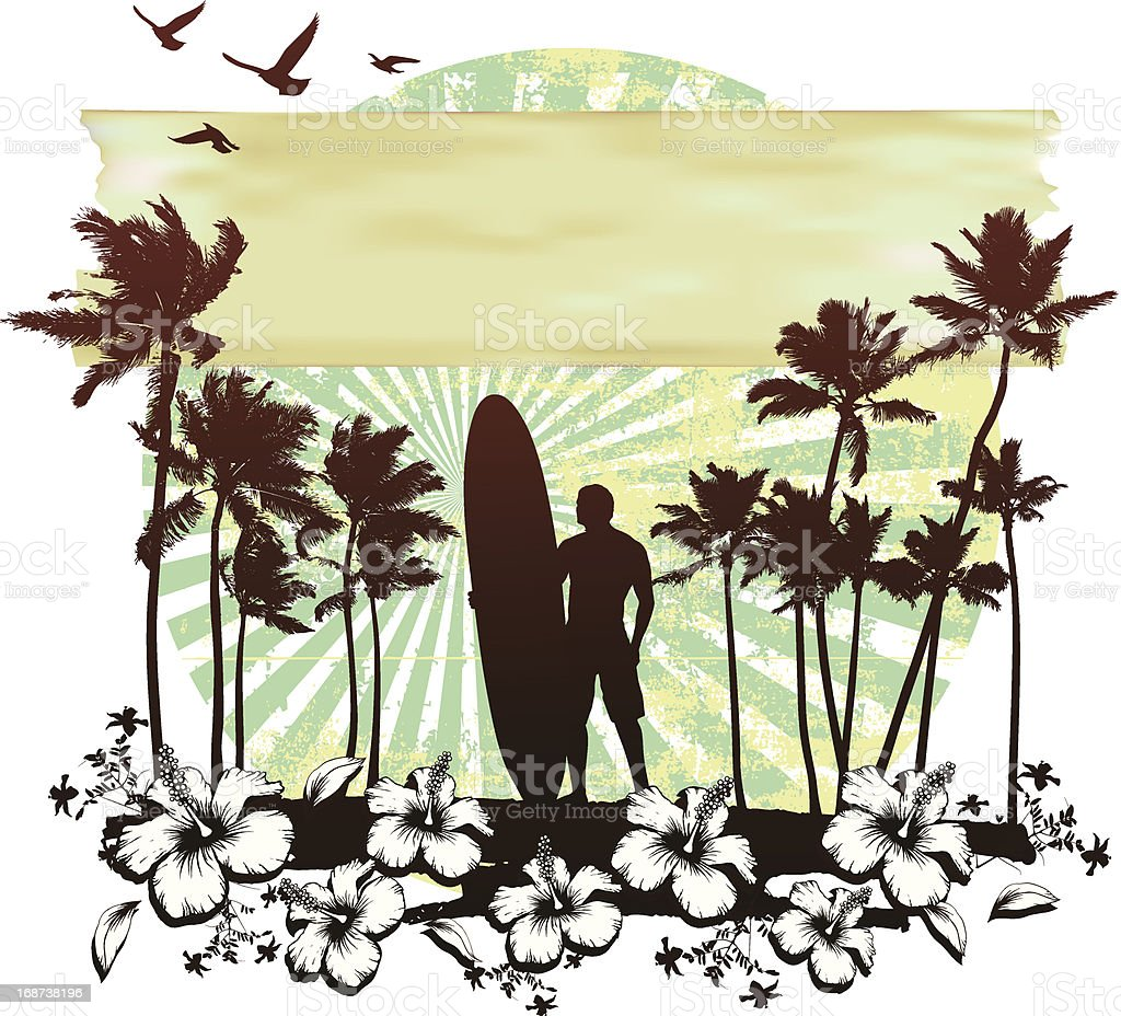 summer circle scene with hibiscus surfer and palms vector art illustration