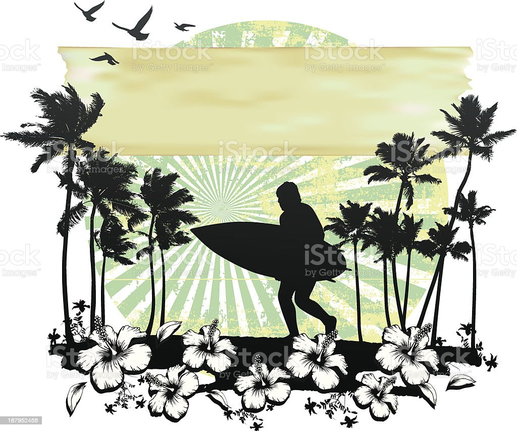 summer circle scene with hibiscus surfer running and palms royalty-free stock vector art