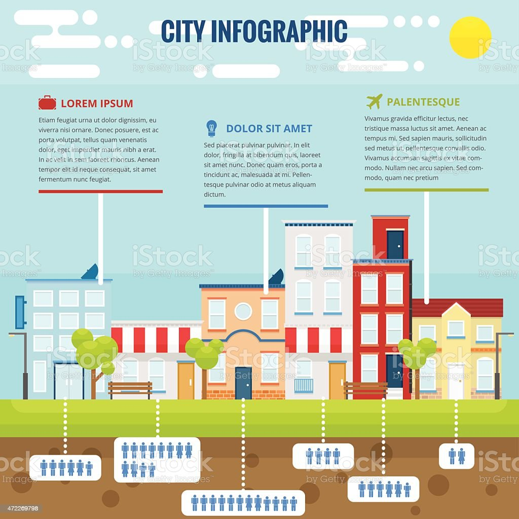 Summer City Infographic vector art illustration