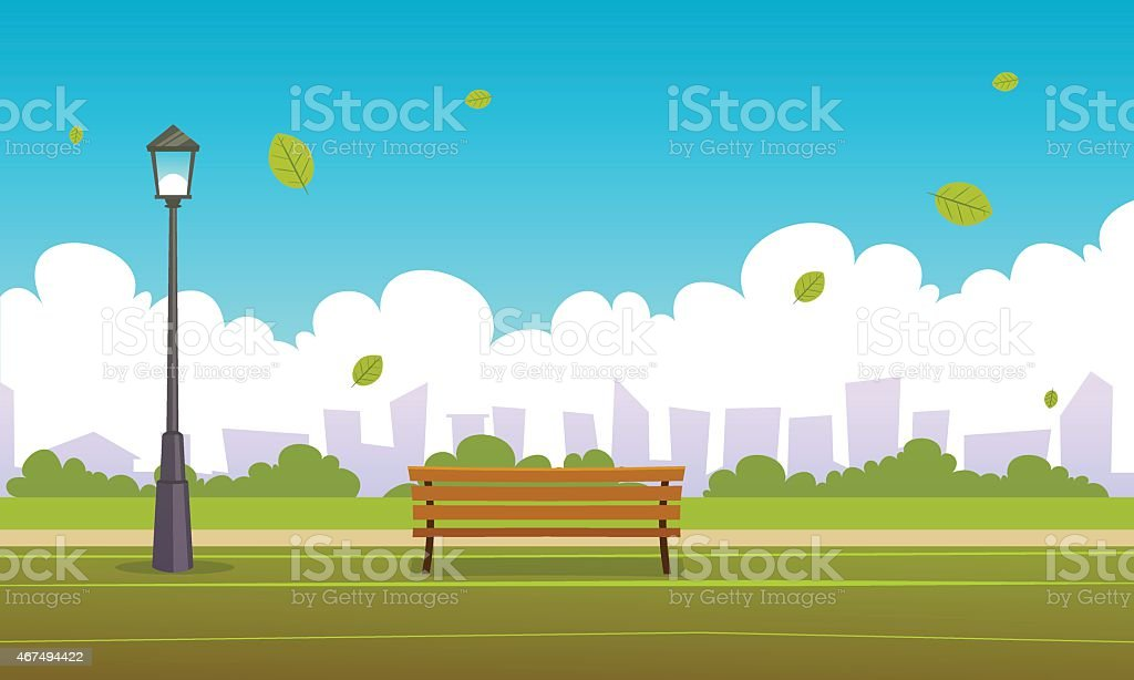 Summer City Park vector art illustration