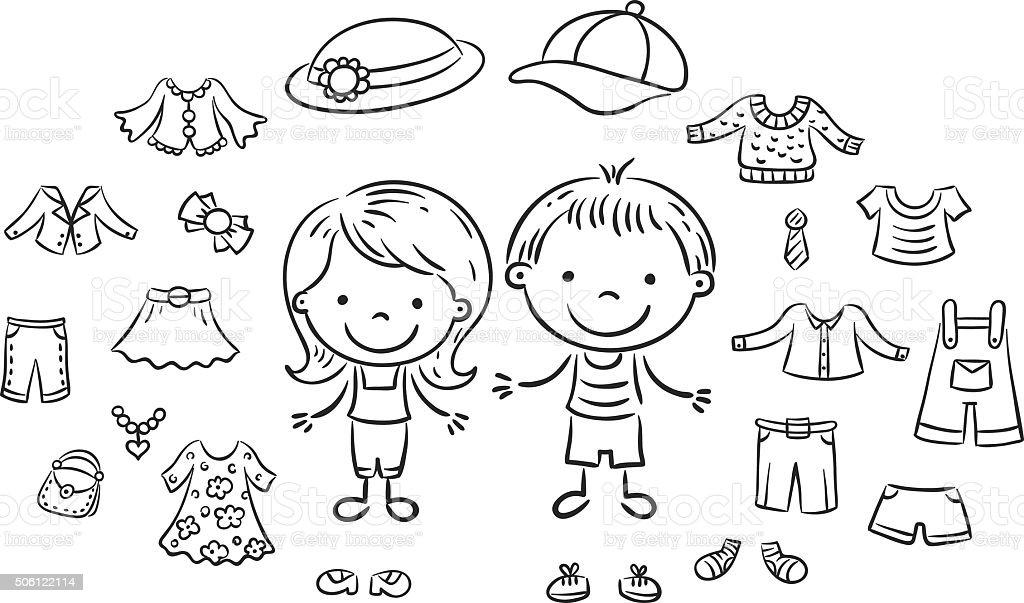 Summer clothes set, black and white vector art illustration