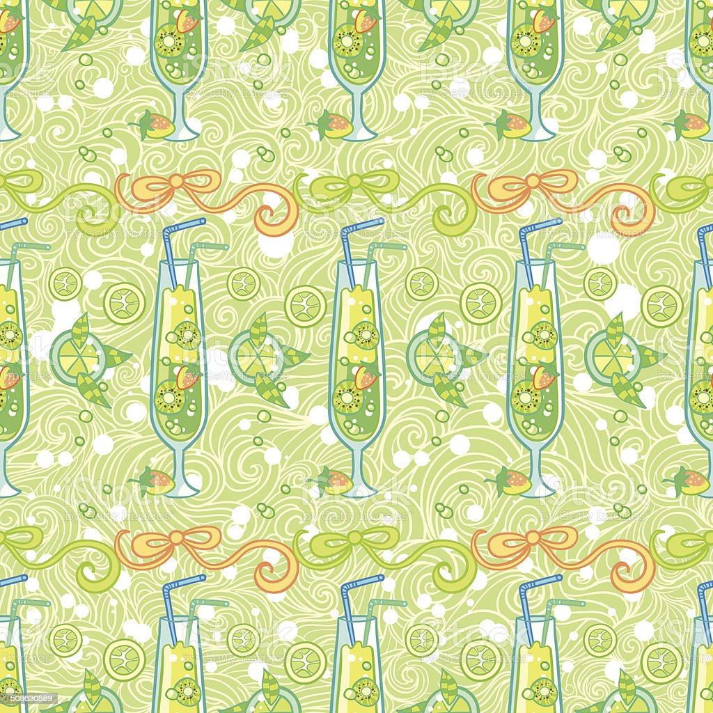 Summer cocktail pattern background vector art illustration