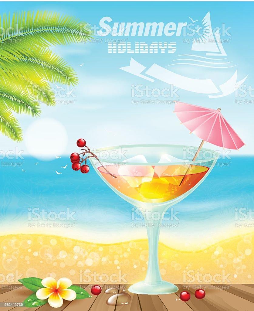 Summer cocktails on sea beach. vector art illustration