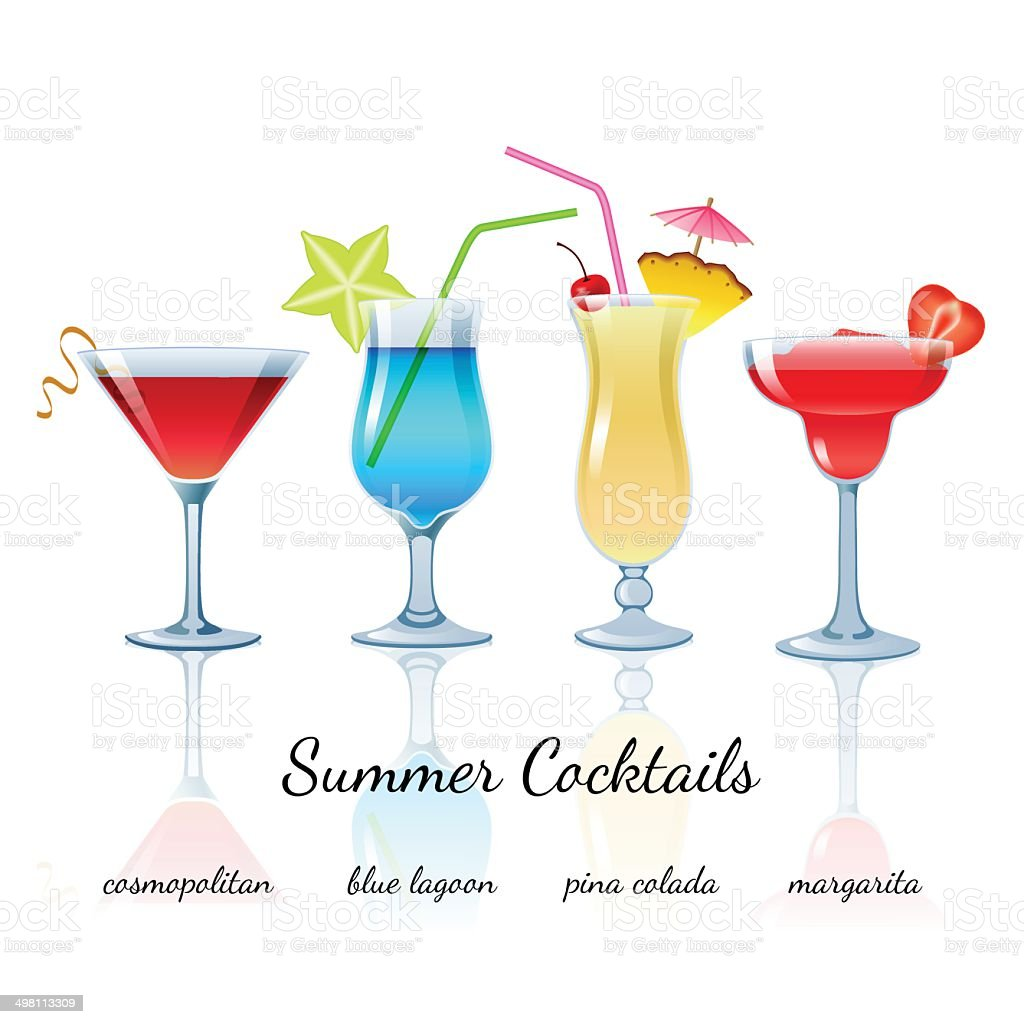 Summer cocktails set, isolated vector art illustration