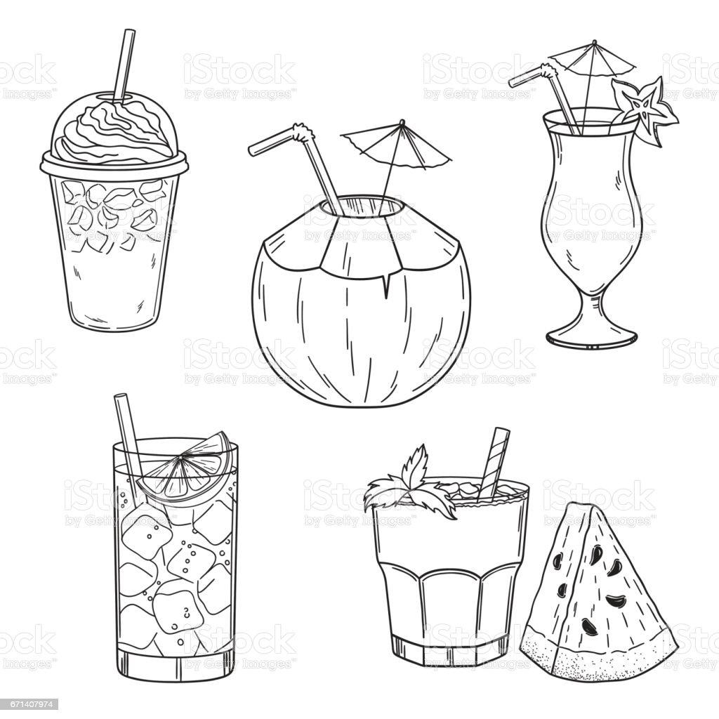 Summer cold drinks set vector art illustration