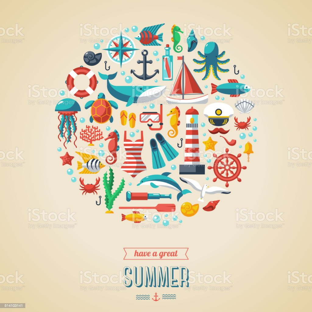 Summer concept. vector art illustration