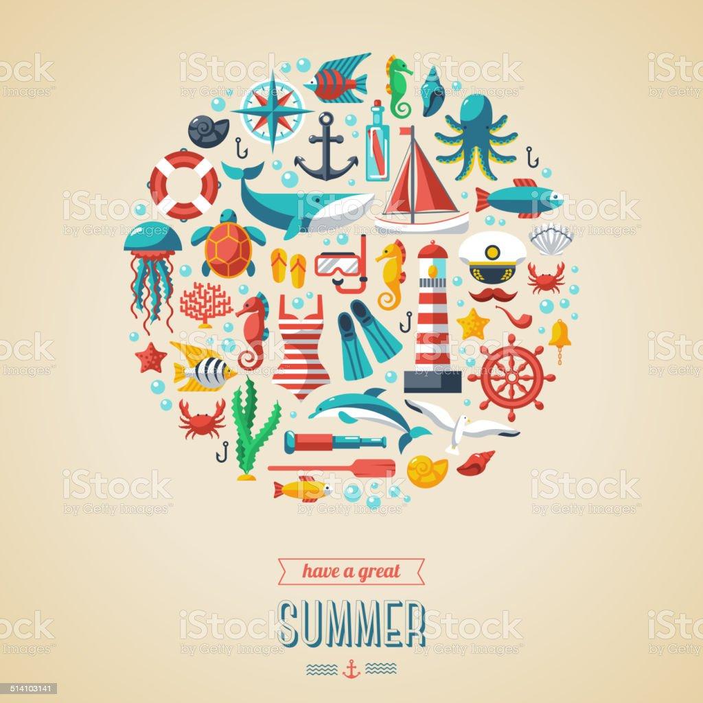 Summer concept. vector art illustration
