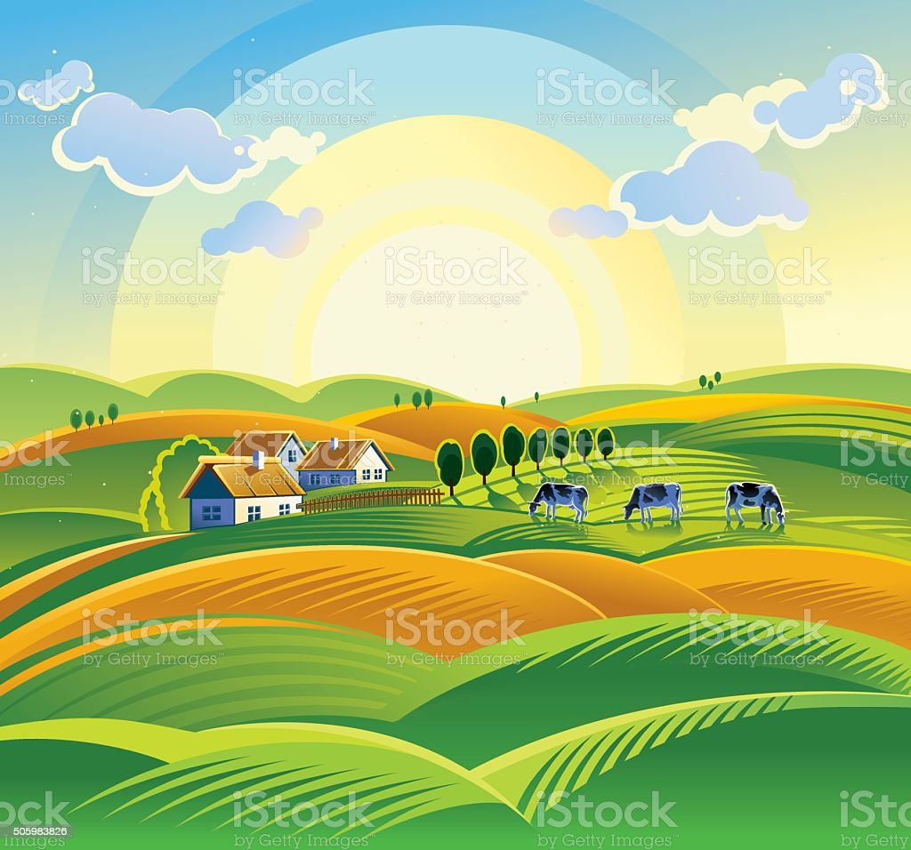 Summer countryside landscape. vector art illustration