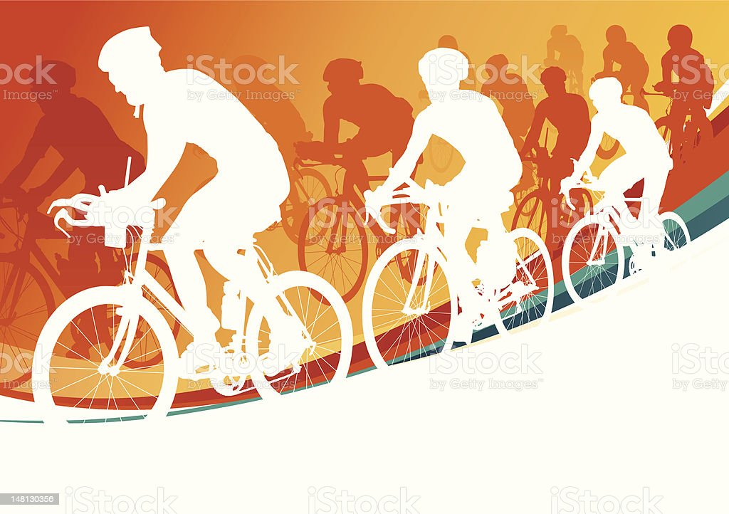 Summer Cycling vector art illustration