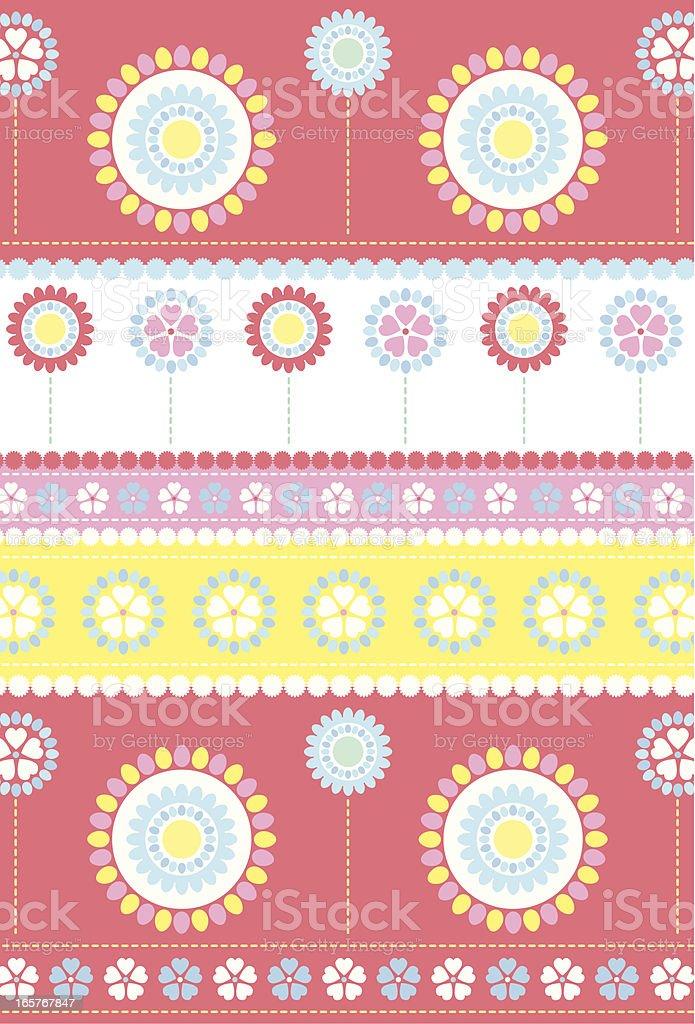 Summer Daisy Stripe Repeat Pattern royalty-free stock vector art