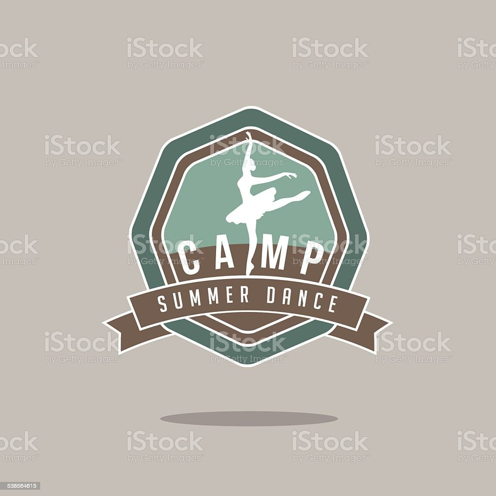 Summer dance camp icon vector art illustration