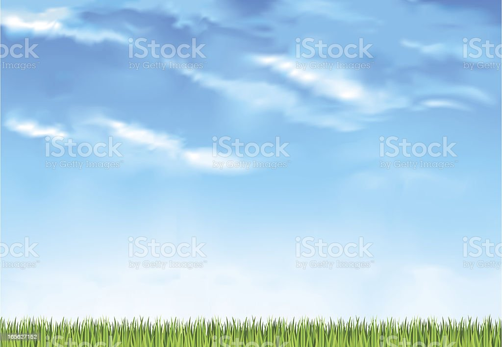 Summer day grassy horizon vector art illustration