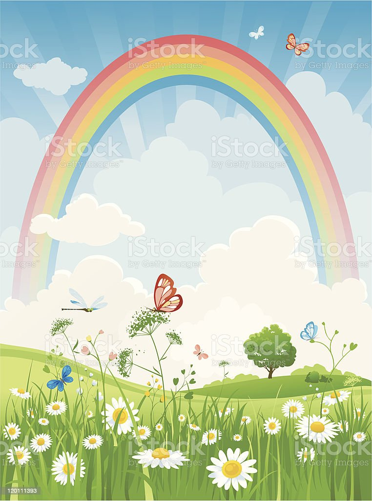 Summer day with rainbow royalty-free stock vector art