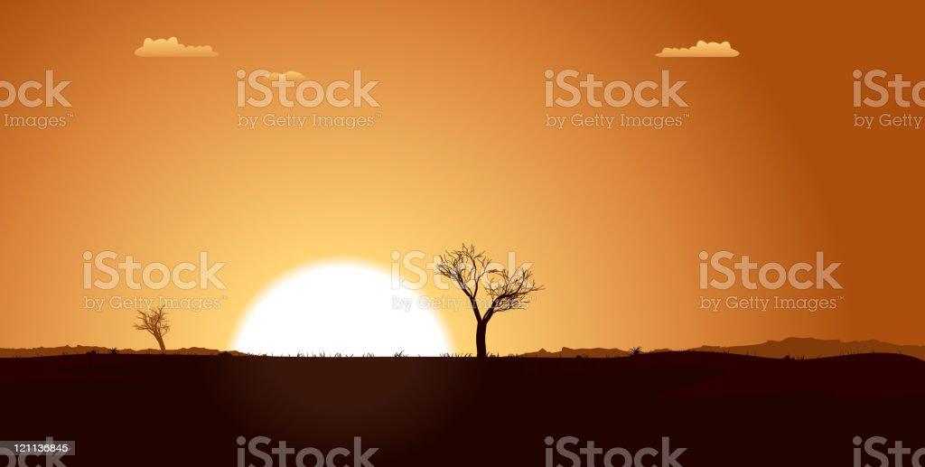 Summer Desert Plain Landscape royalty-free stock vector art