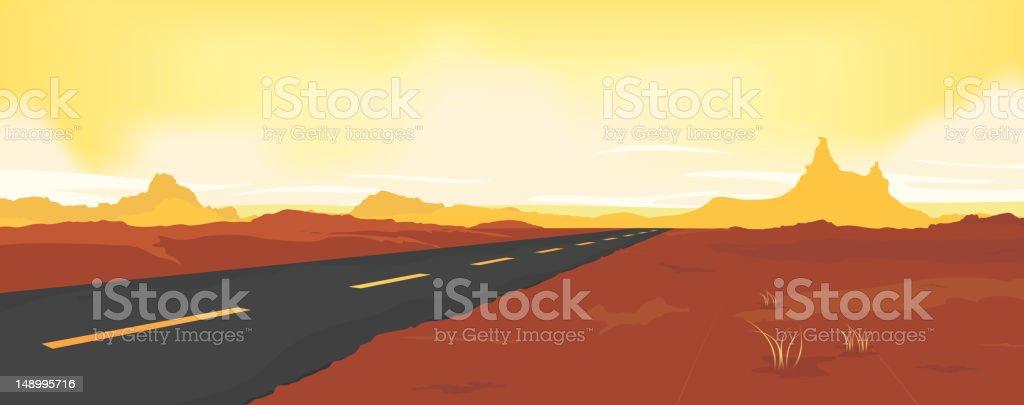 Summer Desert Road royalty-free stock vector art