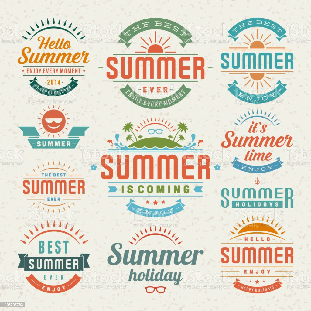 Summer design elements and typography design vector art illustration